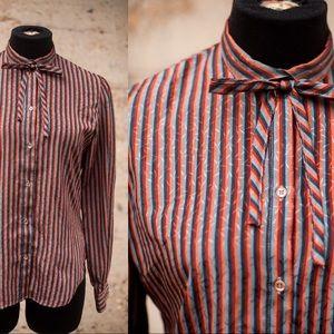 Vintage Striped Tie Neck Blouse Sz S
